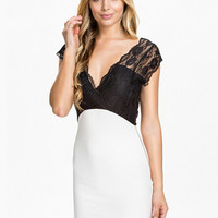 V-neck Sleeveless Lace Accent Backless Pencil Bodycon Mini Dress