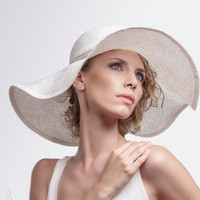 Straw Summer City Hats Womens Large Brim Sun Hat 70's - Natural White - Vintage Weddings - Wedding Party - Can Be Done in Any Size