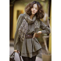 Army Green Long Sleeve Dress with Scarf and Belt