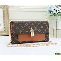 LV Louis Vuitton Newest Women Leather Multicolor Satchel Crossbody Shoulder Bag Brown