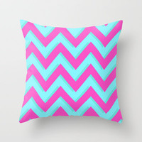 3D CHEVRON TEAL & PINK Throw Pillow by natalie sales