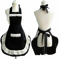 Adjustable Lovely Lace Work Apron Home Shop Kitchen Cooking Women Ladies Aprons with Pocket for Gift Delantal Tablier