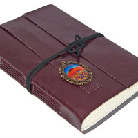 Large Burgundy Faux Leather Journal with Cameo Bookmark