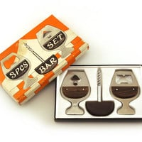 Bottle Opener, Bar Set, Stainless Steel and Rosewood. Cork Screw. Brandy Cognac Glass Breweriana. 3pcs bar set. Cocktail party, can opener