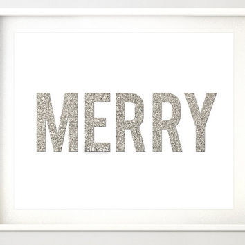 "Silver Christmas printable "" Merry "" silver glitter typography quote print, merry silver print, silver glitter word, holiday decor -pp91"