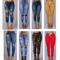 2016 sexy fashion new style women high waist jeans Full Length Ripped jeans Skinny for lady women's jeans slim pants