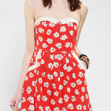 Urban Outfitters - COPE Linen Contrast Strapless Dress