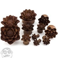 Carved Camellia Flower Wood Plugs
