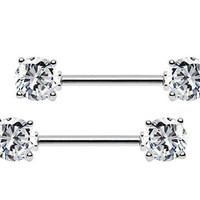 14g Cubic Zirconia Stainles Steel Bar Straight Nipple Ring Barbell