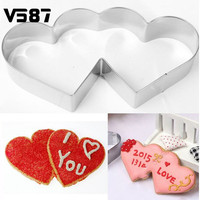 Lovely Double Heart Cookies Cutter Cake Mold Sweet Love Cake Pastry DIY Mould Baking Tools Stainless Steel Metal