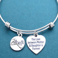 PInky promise, The Love between Mother & Daughter is Forever, Bangle, Bracelet, Mother, Daughter, Forever, Love, Promise, Gift, Jewelry