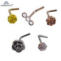 1Pc Fashion Piercing Indian Flower Nose Stud Hoop Septum Clicker Piercing Nose Clip Rings Body Piercing Jewelry Nose Ring
