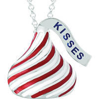 Sterling Silver Red and White Enamel Striped Hershey's Kisses Necklace | Body Candy Body Jewelry