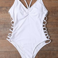 one pieces white hollow bikini set swimsuit  number 1