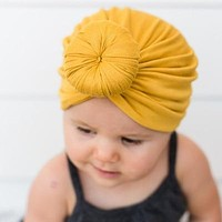 Baby girls Solid Colored Donut Hats BeBe Turban Hood Solid Knotted Cap Unisex Cotton Soft Cute Hats born Head Accessories
