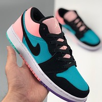 AIR JORDAN 1 LOW colorblock women's flat sports running shoes