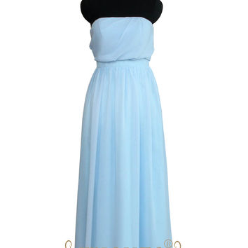 Strapless Light Sky Chiffon Bridesmaid Dresses AM500