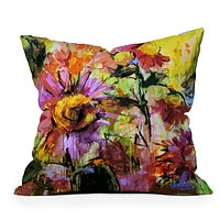 Ginette Fine Art Abstract Echinacea Flowers Throw Pillow