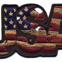 "Embroidered Iron On Patch - USA Vintage Flag Patch 4"" x 2"" Patriotic Patch"