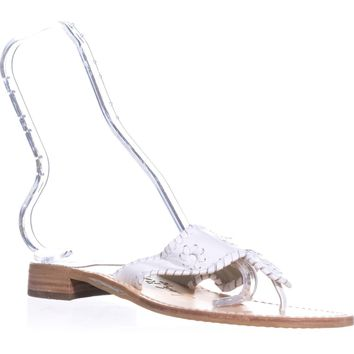Jack Rogers Palm Beach Stitch Flat Sandals, White, 11.5 US