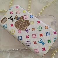 Desinger iPhone 4 4s White Mulitcolor & Gold Case Cover