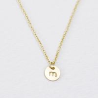 Teeny tiny gold initial disc necklace