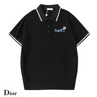 Dior Fashion New Bust Side Letter Print Embroidery Bee Women Men Top T-Shirt Black
