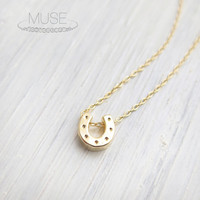 Tiny Horseshoe Necklace - 14k Gold Filled Necklace, Dainty Gold Necklace, Delicate Necklace, Simple Jewelry, Barely There - Lucky Horseshoe