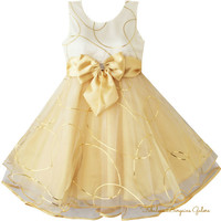 Girls Champagne Gold Multi-Layers Occasion Sleeveless Summer Dress