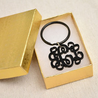 Monogram Keychain - 1.5 inch Vine Personalized Monogram From Your Initials