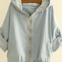 Wave Point Three Quarter Sleeve Hooded Denim Jacket from pomelo