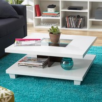 Matched Level Coffee Table In White