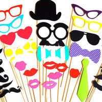 SALE - Photo Booth Prop Set - 32 pieces - Birthdays, Weddings, Parties - Great Photobooth Props