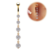 18K Gold Surgical Steel dangle sexy belly Button ring clear Rhinestone Body Piercing Jewelry navel piercing ring SEXY jewelry