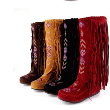 Hot style embroidered retro fringe high ugg boots shoes