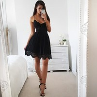 Sexy V-neck Backless Lace Sleeveless Strapless Mermaid One Piece Dress [11813549263]