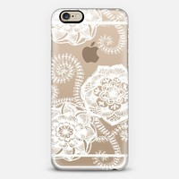 Sweet Doily Doodles in White on Transparent iPhone 6 case by Micklyn Le Feuvre | Casetify