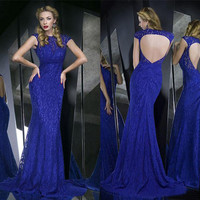 Lady Sexy Prom Ball Gown Long Party Cocktail Evening Formal Lace Wedding Dress