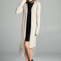 Long Sleeve Fringed Hem Extra Long Open Front Cardigan