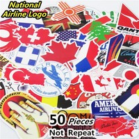 Hot Sale 50 PCS Travel National Flags & Map Airline Logo Stickers for Bags Handbag Luggage Decal Laptop Decor Sticker Toy Doodle