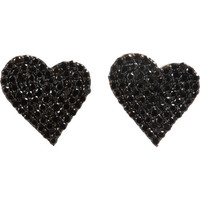 Black Pavé Diamond Heart Stud Earrings
