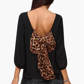 Waldorf Leopard Bow Blouse in Black