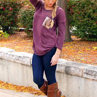 Touch of Sparkle Tunic - Wine