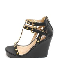 Black Vivian Studded T-strap Wedges | $10.00 | Cheap Trendy Wedges Chic Discount Fashion for Women |