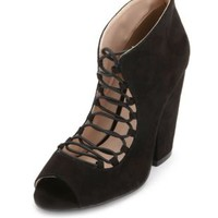 Chunky Lace-Up Peep Toe Ankle Bootie by Charlotte Russe - Black