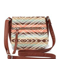 Tribal Top Flap Cross-Body Purse by Charlotte Russe - Cognac