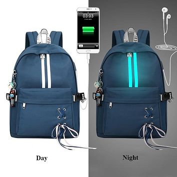 Fashion Anti Theft Reflective Waterproof Women DARK BLUE Backpack USB Charge School Bags For Girls Travel Laptop Rucksack Bookbags FREE SHIPPING