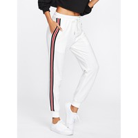 White Mid Waist Sporty Sweatpant