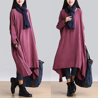 Women large size maxi dress  linen dress  Casual dress/Loose Fitting dress/Long Sleeve dress autumn clothing plus size dress