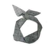 Black and White Crosshatched Wire Headband Dolly Bow Knot Headband by All Things in Color